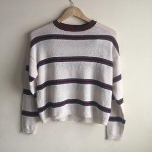 Cream & Burgundy Thin Striped Garage Sweater